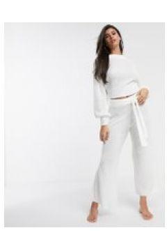 ASOS DESIGN - Pantaloni premium da casa con fondo ampio-Bianco(112346624)