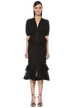 Alexis Kadın Dilarra Siyah V Yaka Nakışlı Midi Kokteyl Elbise M EU(107864306)