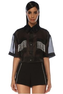 Forte Couture Kadın Siyah Taş Püsküllü Kısa Kol Gömlek 40 IT(120138716)