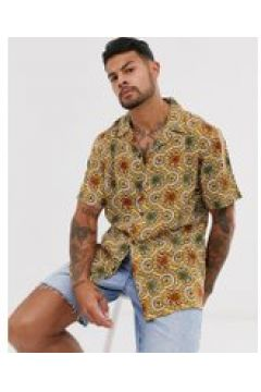 Pull&Bear - Camicia a maniche corte con stampa color senape-Marrone(112450564)