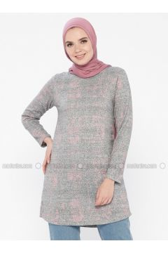Pink - Gray - Multi - Crew neck - Tunic - HANIMŞAH(110339716)
