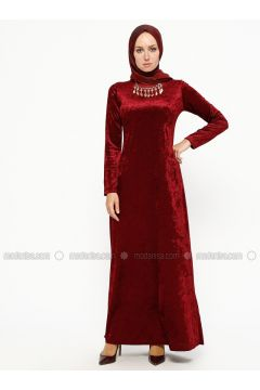 Maroon - Crew neck - Unlined - Dresses - MEKSİLA(110314187)