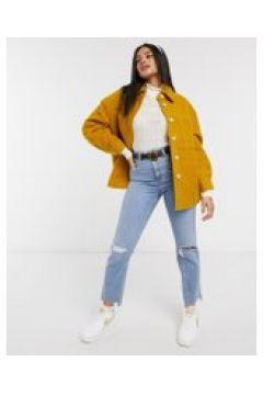 Pieces - Camicia giacca teddy con tasche senape-Giallo(121794698)