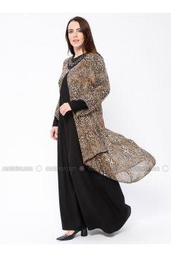 Mustard - Multi - Crew neck - Unlined - Muslim Plus Size Evening Dress - Tuana(110337056)