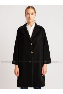 Black - Shawl Collar - Viscose - Coat - NG Style(110341253)