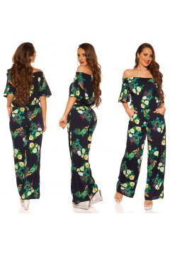 Long Overall Off Shoulder Sommeroverall Flower Print Carmen Marlene Jumpsuit(94899971)