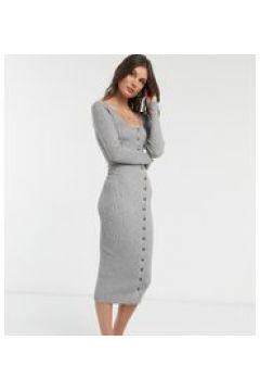 Fashion Union Tall - Vestito midi in maglia con bottoni-Grigio(120964660)