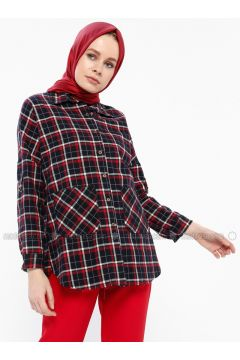 Red - Navy Blue - Plaid - Point Collar - Blouses - İroni(110339005)