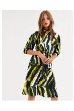 Closet London - Hochgeschlossenes Skaterkleid mit abstraktem Muster - Mehrfarbig(95027409)