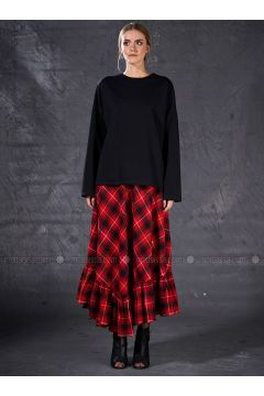 Red - Plaid - Unlined - Skirt - Eda Atalay(110331492)