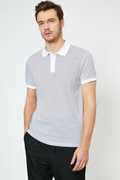 Koton Erkek Polo Yaka Geometrik Desenli Slim Fit Tisört(124916224)