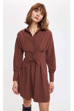 DeFacto Kadın Korse Kemer Detaylı Gömlek Elbise(125934085)
