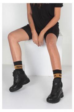 İnan Ayakkabı Siyah Cilt Siyah File Kadın Bot(124318057)