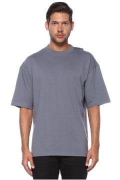 Balenciaga Erkek Gri Bisiklet Yaka Logo Detaylı T-shirt XS EU(119943000)