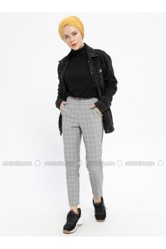 Yellow - Gray - Plaid - Viscose - Pants - Meys(110329239)