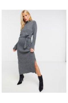 Unique21 - Vestito in maglia lungo con collo alto grigio(122556480)