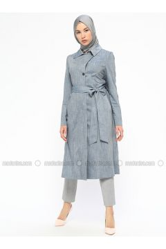 Blue - Unlined - Point Collar - Coat - MARKESRA(110314783)