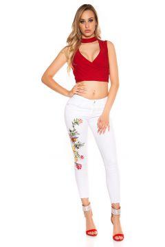 Beautiful Ankle-Jeans mit Flower-Stickerei(90294972)