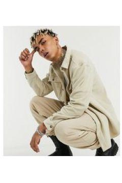 Reclaimed Vintage Inspired - Giacca camicia effetto lana grigio pietra(123403838)