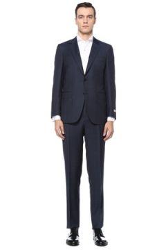 Canali Erkek Venezia Lacivert Kareli Yün Takım Elbise 48 IT(123205346)