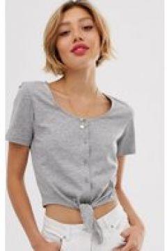 Brave Soul Petite - Kurzes T-Shirt mit Schnürung vorn und Knöpfen - Grau(94860070)