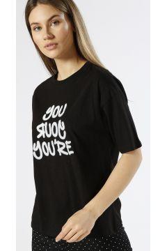Ole Kabartma Yazılı Siyah T-Shirt(113959134)