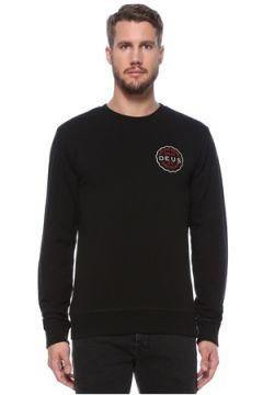 Deus Ex Machina Erkek Siyah Bisiklet Yaka Logolu Sweatshirt S EU(124856846)