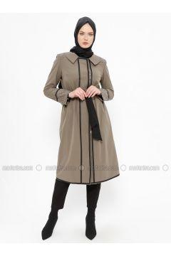 Khaki - Unlined - Point Collar - Cotton - Coat - Tekbir(110335671)