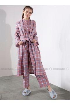 Red - Plaid - Viscose - Abaya - Akel(110331059)