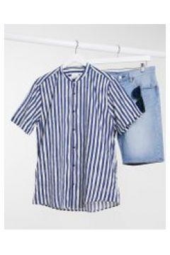 Pull&Bear - Camicia a righe con collo serafino blu navy(120255261)
