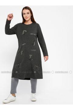 Gray - Crew neck - Plus Size Tunic - Efraze(110329580)