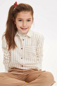 DeFacto Kız Çocuk Çizgili Tek Cepli Gömlek(108988418)