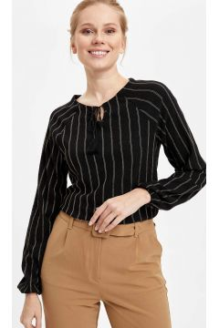 DeFacto Kadın Reglan Kol Çizgili Uzun Kollu T-shirt(119060869)