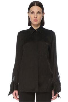 Victoria by Beckham Kadın Siyah İngiliz Yaka Kolu Volanlı Gömlek 8 US(127641561)