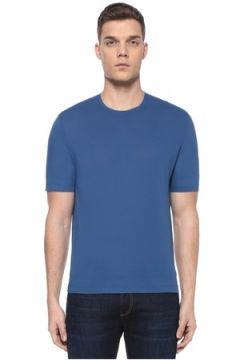 Lardini Erkek Mavi Basic T-shirt 50 IT(107373304)