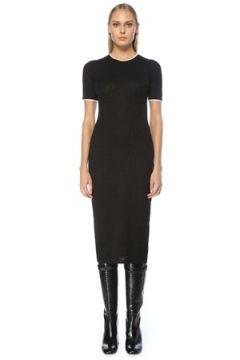 Fendi Kadın Siyah Logo Motifli Biyeli Kısa Kol Midi Elbise 40 IT(123086231)