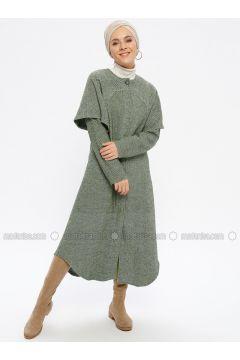 Khaki - Fully Lined - Crew neck - Topcoat - Beha Tesettür(110336515)