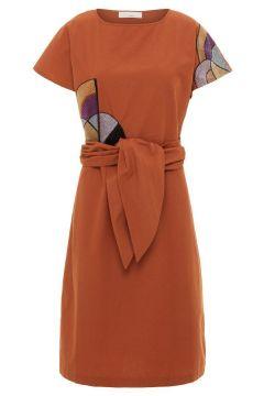 P O S T Y R Tie-belt Cotton Midi Dress Dames Oranje(114504523)