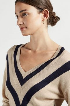 Chevron Detail Knitted Midi Dress(122532745)