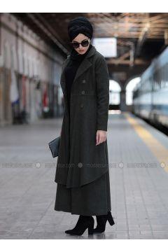 Khaki - Shawl Collar - Coat - Piennar(110335017)