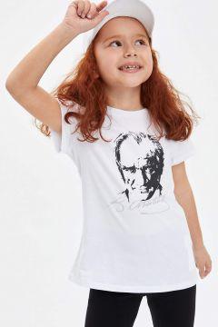 DeFacto Kız Çocuk Atatürk Baskılı Kısa Kollu T-shirt(119060487)