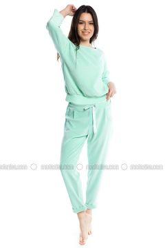 Green - Crew neck - Cotton - Pyjama - Pamuk&Pamuk(110323062)