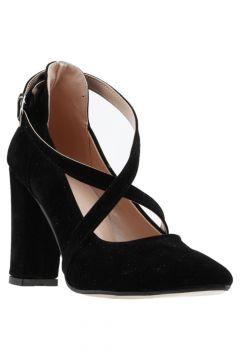 Ayakland Kadın Siyah Süet Klasik Topuklu Ayakkabı 137029-1122(121525778)