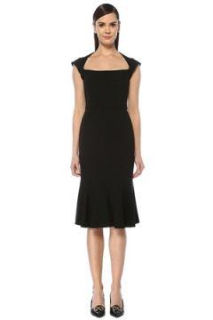 Dolce&Gabbana Kadın Siyah Yaka Detaylı Volanlı Midi Elbise 40 IT(108579558)