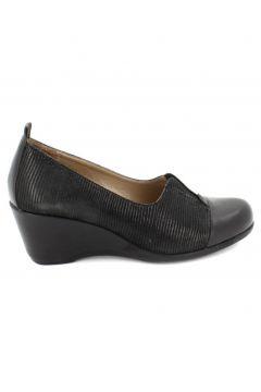Hobby Hakiki Deri Siyah Kadın Dolgu Topuklu Ayakkabı(113619055)