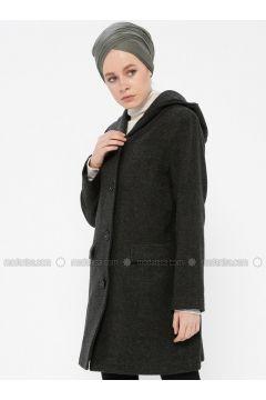 Khaki - Fully Lined - Shawl Collar - Coat - Gzd(110337855)