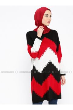 Red - Black - Stripe - Crew neck - Wool Blend - Acrylic -- Tunic - PİLİSE(110313971)
