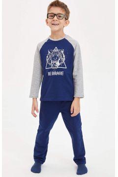 DeFacto Erkek Çocuk Baskılı Renk Bloklu Pijama Takımı(125920444)