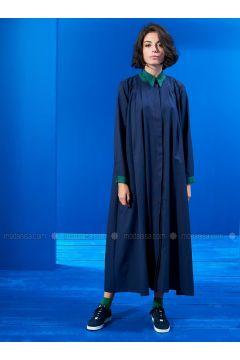 Green - Navy Blue - Point Collar - Unlined - Dresses - Mevra(110323497)