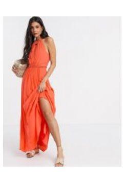 Karen Millen - Vestito midi a pieghe corallo-Arancione(120302257)
